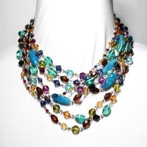 Lia Sophia Colorful Multistrand Statement Necklace